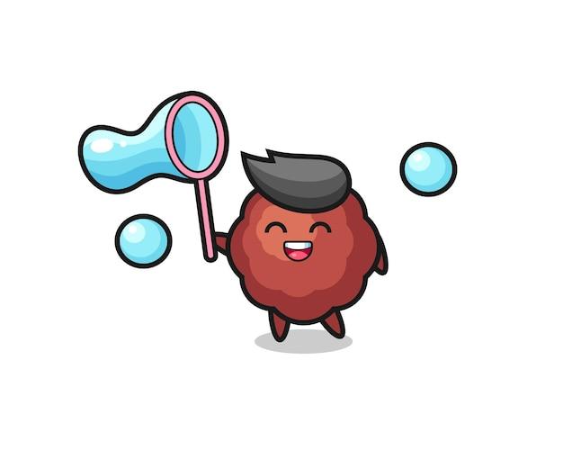 Gelukkig gehaktbal cartoon spelen zeepbel, schattig stijl ontwerp voor t-shirt, sticker, logo-element
