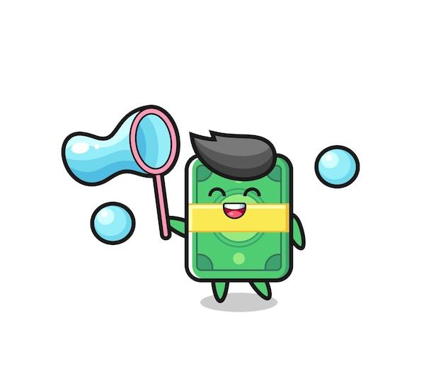 Gelukkig geld cartoon die zeepbel speelt, schattig stijlontwerp voor t-shirt, sticker, logo-element