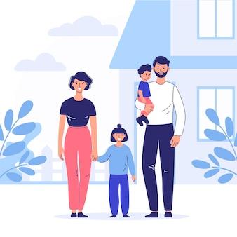 Gelukkig getrouwd stel met kinderen die samen buiten voor hun huis staan