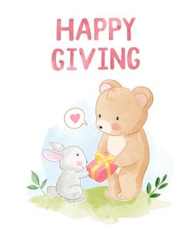 Gelukkig geven met schattige beer geef een cadeau aan klein konijn