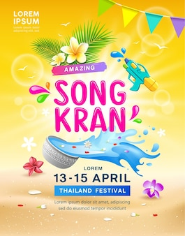 Gelukkig geweldig songkran, thailand festival poster.
