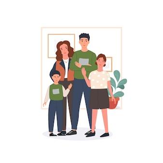 Gelukkig gezin concept. vader, moeder, kinderen blijven thuis en brengen samen tijd door