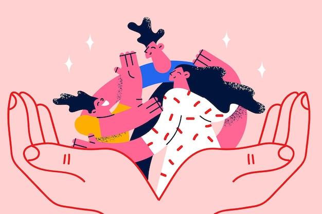 Gelukkig gezin en zorgconcept. menselijke handen met lachende gelukkige familie moeder dochter en vader omhelzen elkaar, wat betekent zorg en liefde vectorillustratie