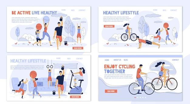 Gelukkig gezin. gezonde levensstijl. dagelijks genieten van sportactiviteiten. ouderkinderen trainen thuis, in het park, samen fietsen buiten. verschillende training voor de lichaamsverzorging van vrouwen, mannen en kinderen. bestemmingspagina set