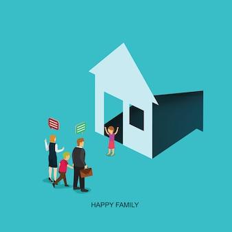 Gelukkig gezin heeft een huis