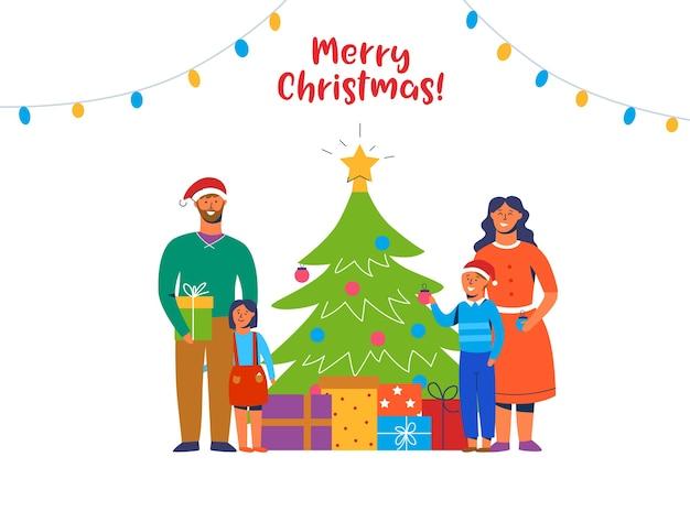Gelukkig gezin kerstboom versieren. wintervakantie tekens thuis met geschenken. ouders en kinderen samen nieuwjaar vieren.