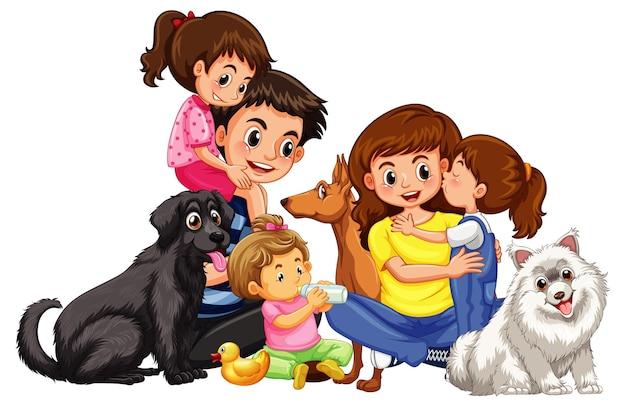 Gelukkig gezin met hun huisdieren op witte achtergrond