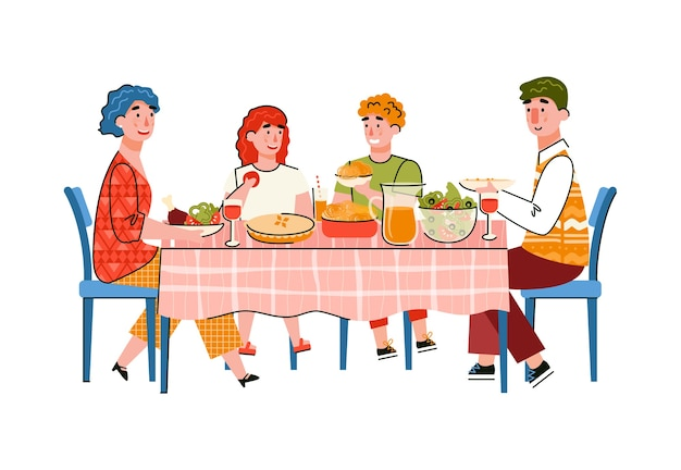 Gelukkig gezin met kinderen eten aan grote tafel, cartoon afbeelding.