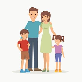 Gelukkig gezin met kinderen permanent samen