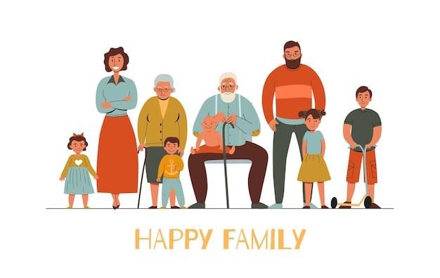 Gelukkig gezin met verschillende generaties plat