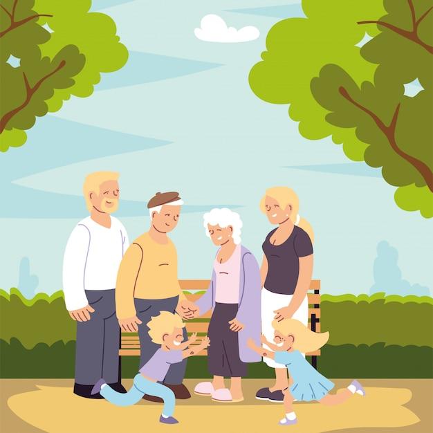 Gelukkig gezin, ouders, grootouders en kind