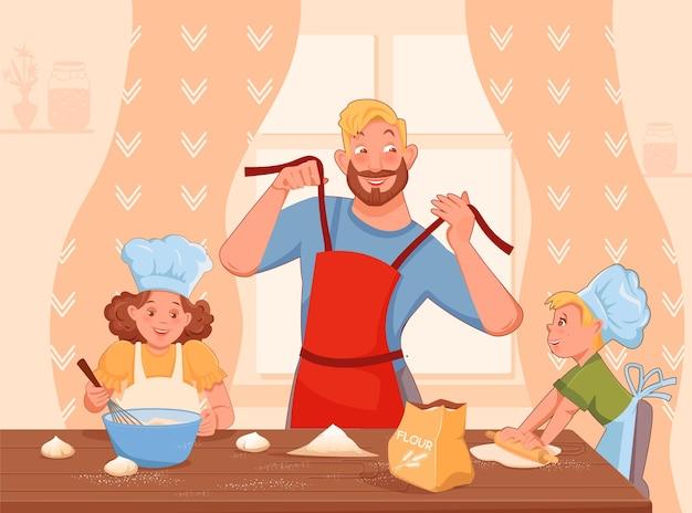 Gelukkig gezin vader en twee kinderen koken samen eten grote tafel vector cartoon stijl