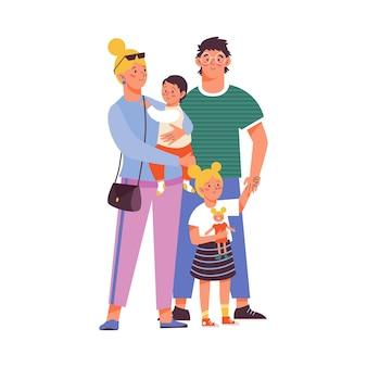 Gelukkig gezin van moeder vader en kinderen platte vectorillustratie geïsoleerd