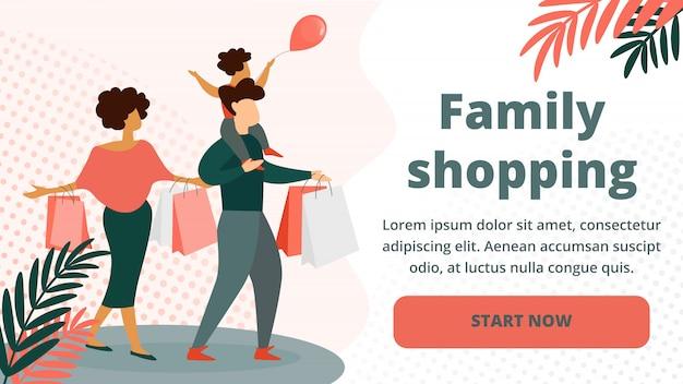 Gelukkig gezin winkelen. vader, moeder, klein kind