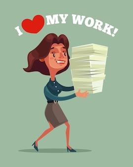 Gelukkig glimlachend zakenvrouw kantoormedewerker mascotte karakter met veel documenten rapport