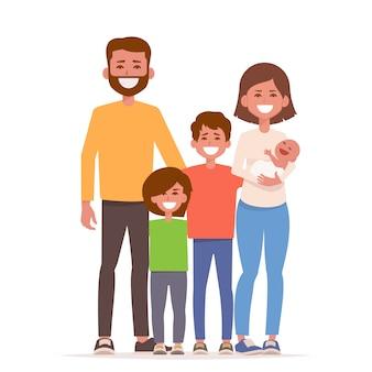 Gelukkig glimlacht familie staat samen