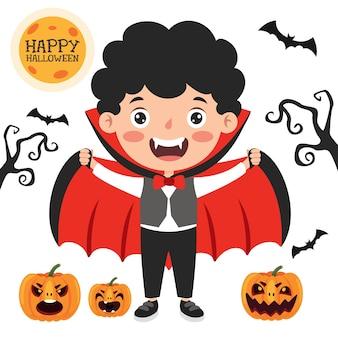 Gelukkig grappig kind dat halloween viert