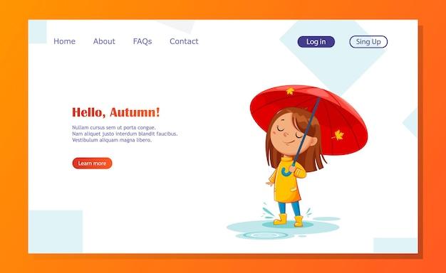 Gelukkig grappig kind in rubberen laarzen die onder de regenachtige herfst van de paraplu staan