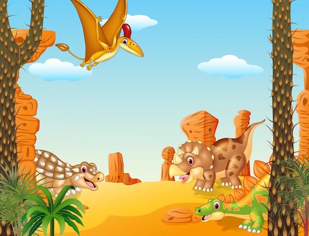 Gelukkig groepsdinosauruskarakter met voorhistorische achtergrond