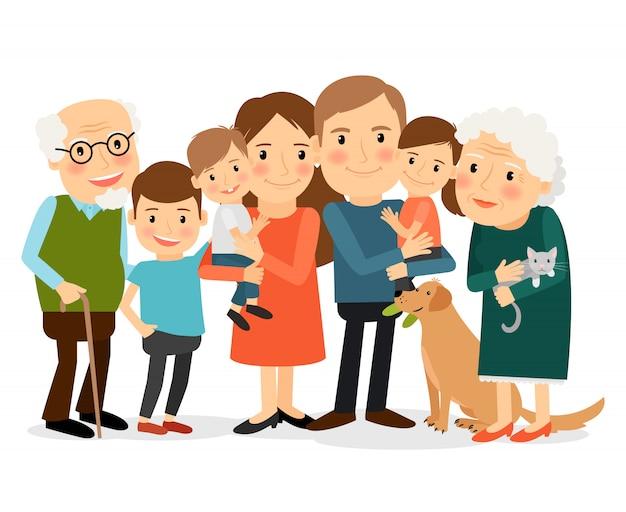 Gelukkig groot familieportret