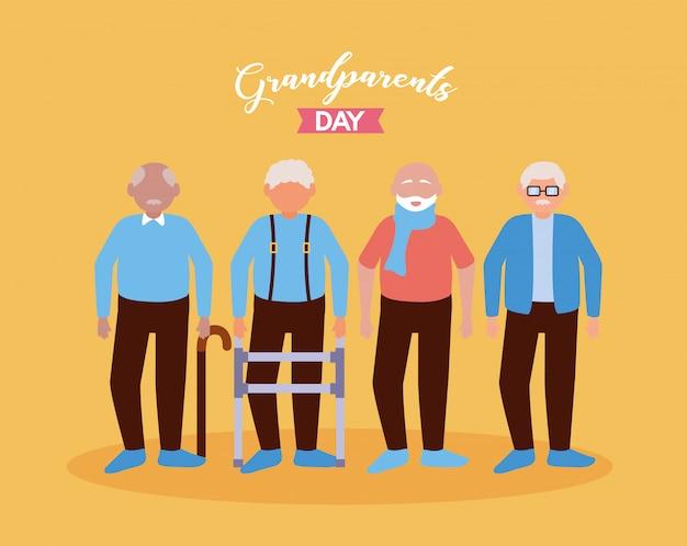 Gelukkig grootouders dag plat ontwerp