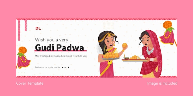 Gelukkig gudi padwa indian festival met indiase vrouwen facebook cover-sjabloon