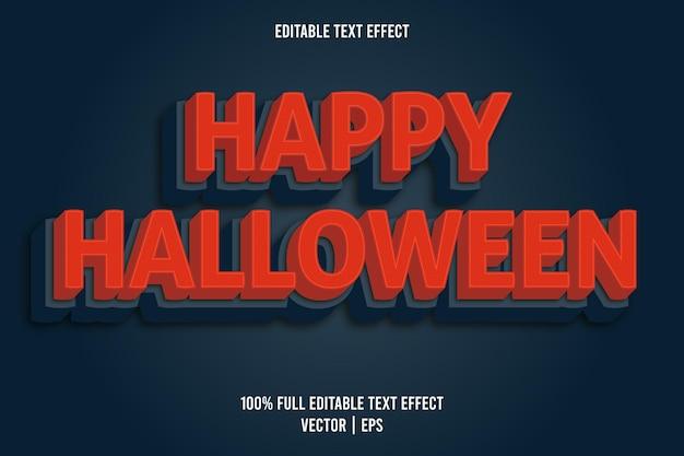 Gelukkig halloween 3 dimensie bewerkbaar teksteffect rode kleur