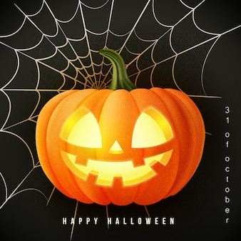 Gelukkig halloween 3d realistisch eng jack lantaarn en spinnenweb