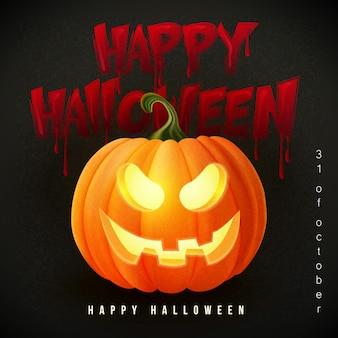 Gelukkig halloween 3d-realistische enge jack-lantaarn en bloedige typografische ontwerptekst