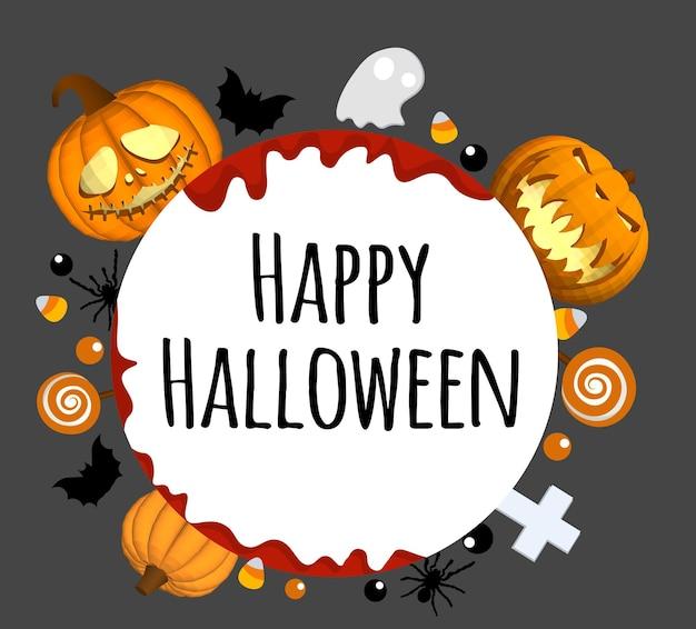 Gelukkig halloween-achtergrond. plaats voor uw tekst. rond gebied voor tekst.