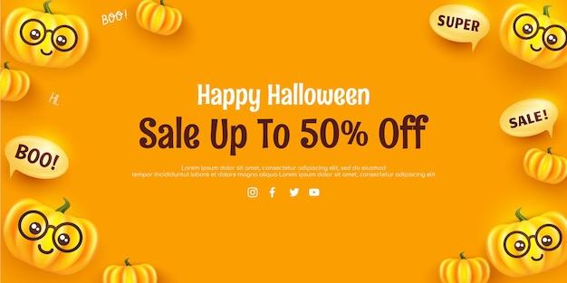 Gelukkig halloween-bannersjabloon met lachende schattige halloween-pompoenen