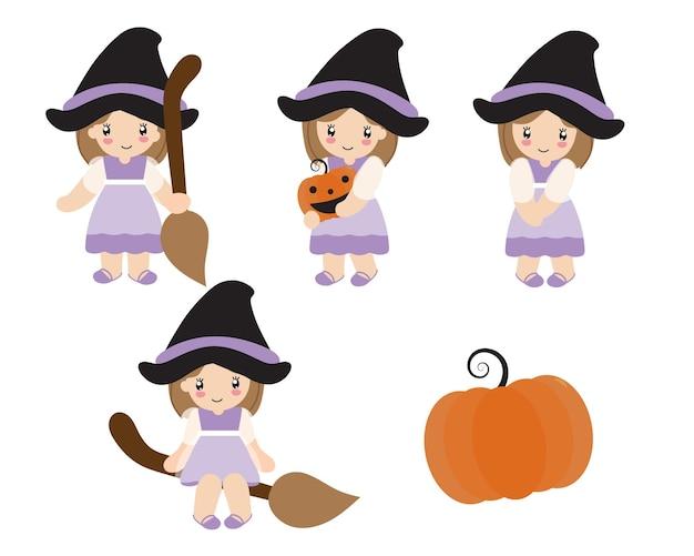 Gelukkig halloween-beeldverhaalkarakter van klein schattig meisje