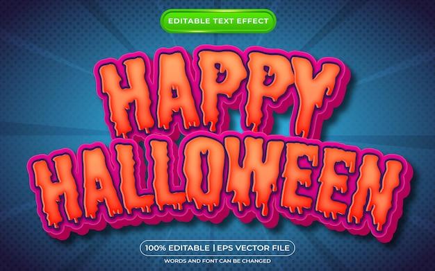 Gelukkig halloween bewerkbaar teksteffect enge tekststijl