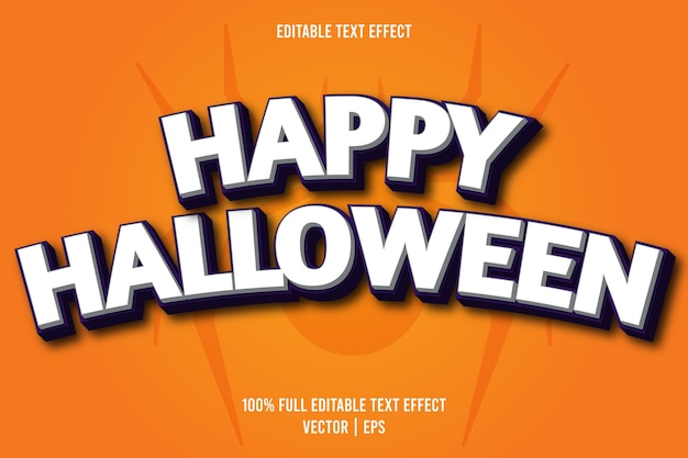 Gelukkig halloween bewerkbaar teksteffect komische stijl witte en paarse kleur