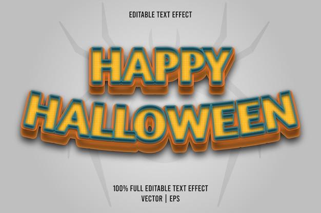 Gelukkig halloween bewerkbare teksteffect komische stijl