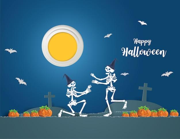 Gelukkig halloween-concept met skeletten die op een elektrische scooter rijden, gaan 's nachts feesten.