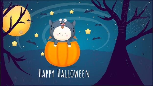 Gelukkig halloween-dagconcept als achtergrond met baby in halloween-kostuumillustratie premium vector