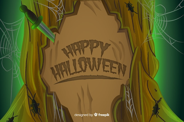 Gelukkig halloween dat in een boom wordt gesneden