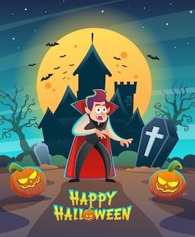 Gelukkig halloween dracula vampier karakter met donkere nacht kasteel en maan concept illustratie