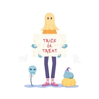 Gelukkig halloween en trick or treat feest. geest kostuum.