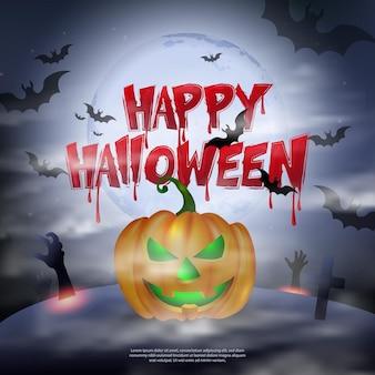 Gelukkig halloween eng kerkhof donkere nacht volle maan jack-o'-lantern vleermuis en bloedige typografische ontwerptekst