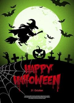 Gelukkig halloween eng kerkhof donkere nacht volle maan vleermuis en heks bloedige typografische ontwerptekst