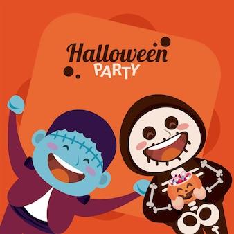 Gelukkig halloween-feest met skelet en frankenstein