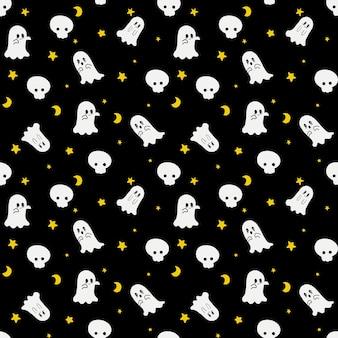 Gelukkig halloween-feest naadloos patroon met kleine dansende geesten met gele sterren