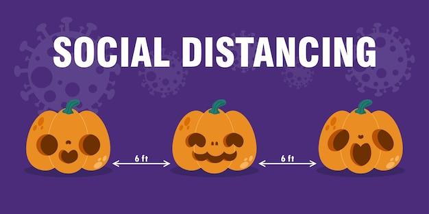 Gelukkig halloween-feest voor nieuw normaal concept pompoenkop en sociale afstand beschermen het coronavirus