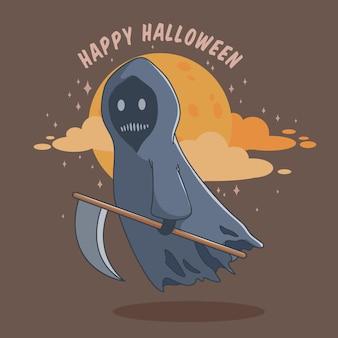 Gelukkig halloween grim reaper stripfiguur met plat ontwerp of doodle-stijl