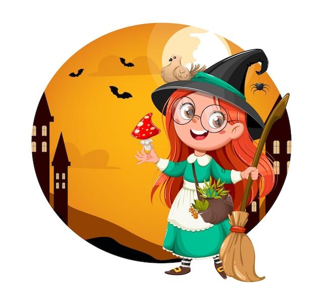 Gelukkig halloween heldere wenskaart. leuke meisjesheks. mooie kleine heks stripfiguur. voorraad vectorillustratie