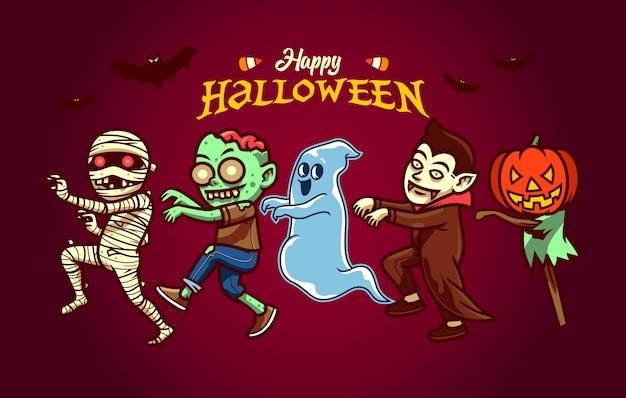 Gelukkig halloween-karakter dat in beeldverhaalstijl wordt geplaatst