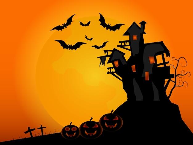 Gelukkig halloween-kasteel als achtergrond met vleermuis en pompoenen in grafillustratie