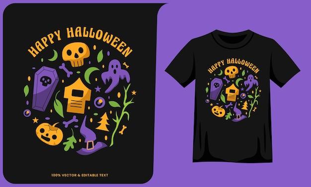 Gelukkig halloween-kunstwerk en t-shirtontwerp